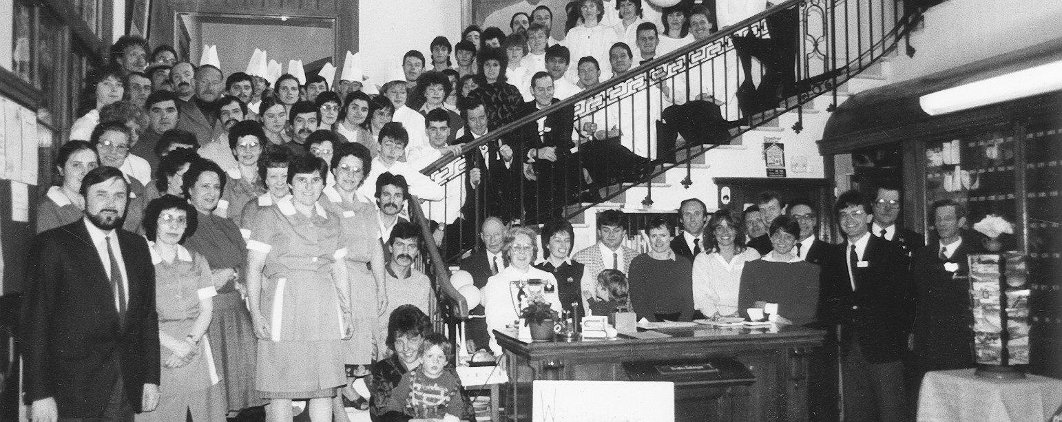 Teamfoto 1983 Hotel Waldhaus Sils