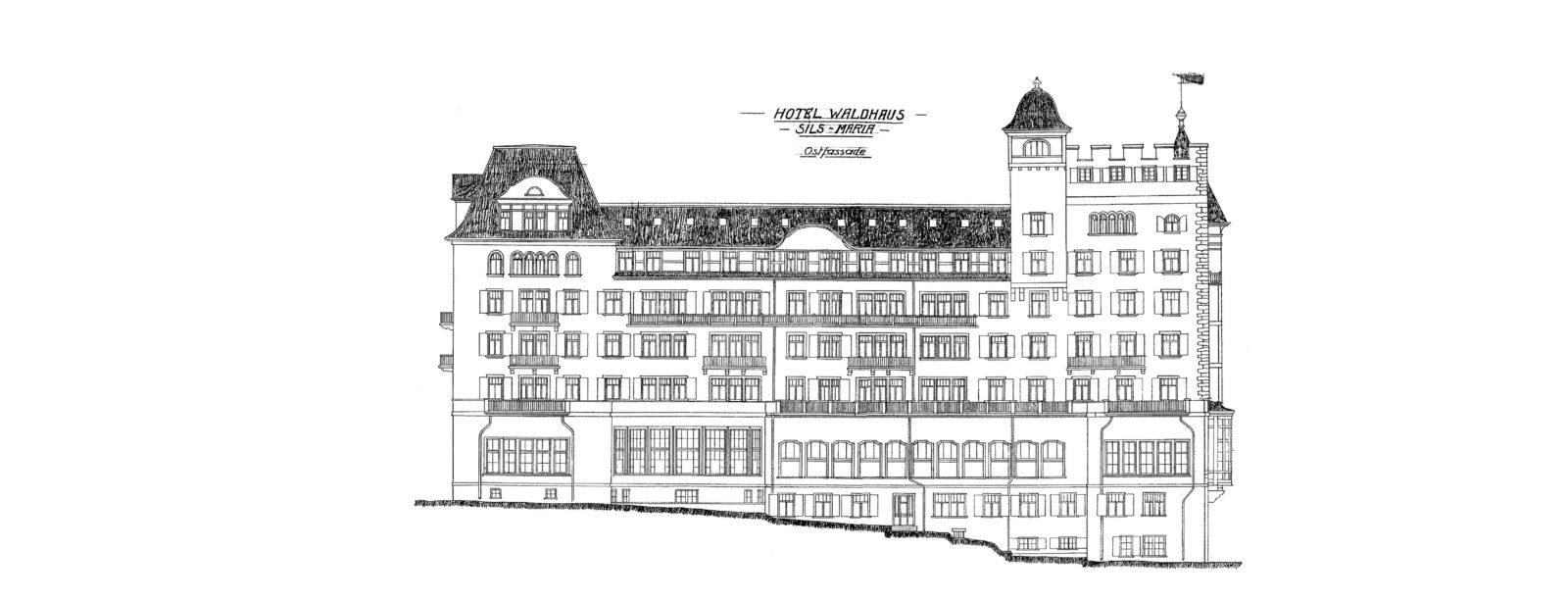 Sketch of the facade - Hotel Waldhaus Sils