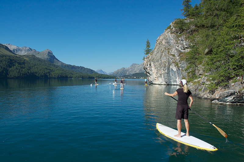 Stand up paddle on the lake of Silvaplana