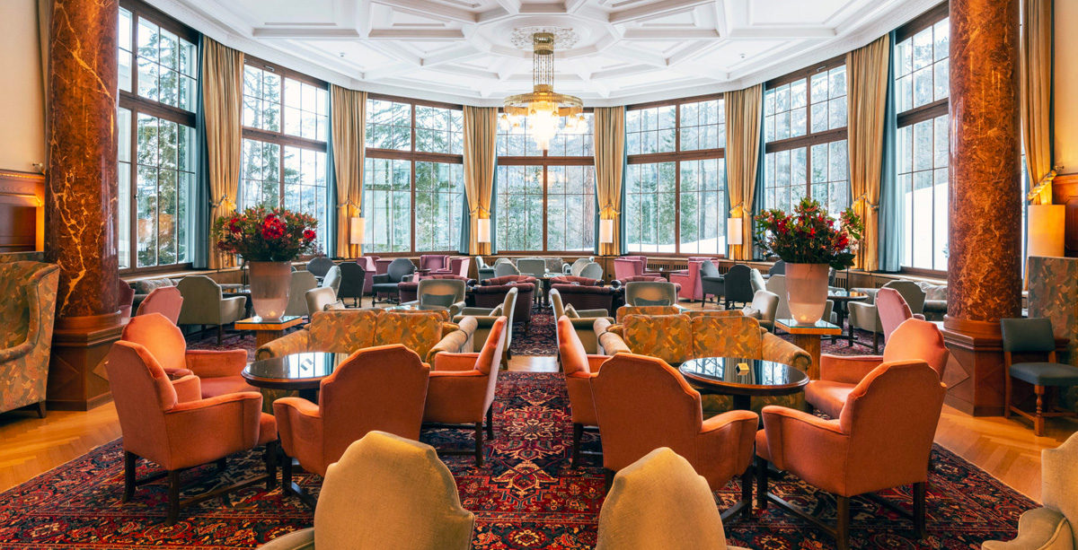 The Grand Hall at the Hotel Waldhaus Sils