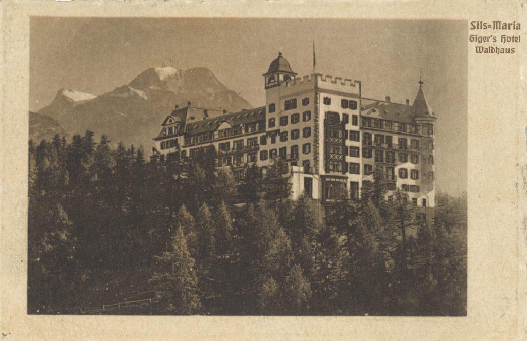 Waldhaus Sils - Gigers Hotel Waldhaus - nostalgische Ansichtskarte
