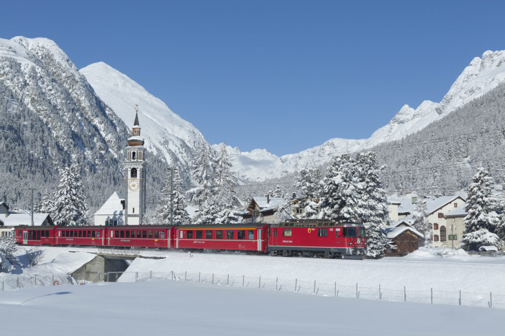 Rhaetian Railway/RhB - The Rhaetian Railway near Bever in the Engadin region