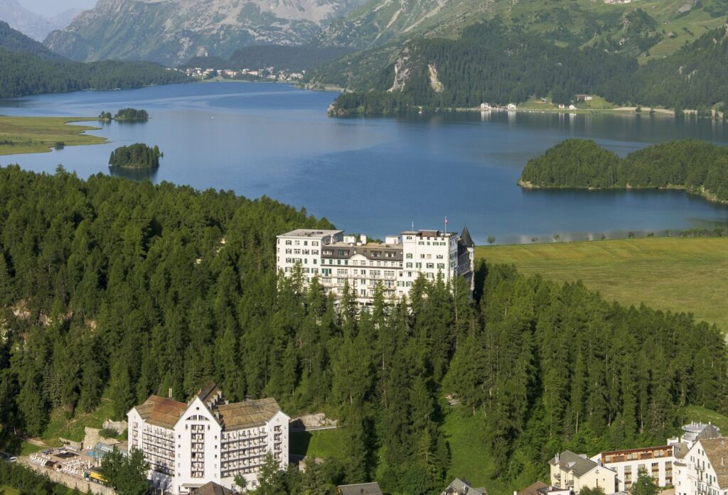 View towards Lake Sils with Hotel Waldhaus in the foreground