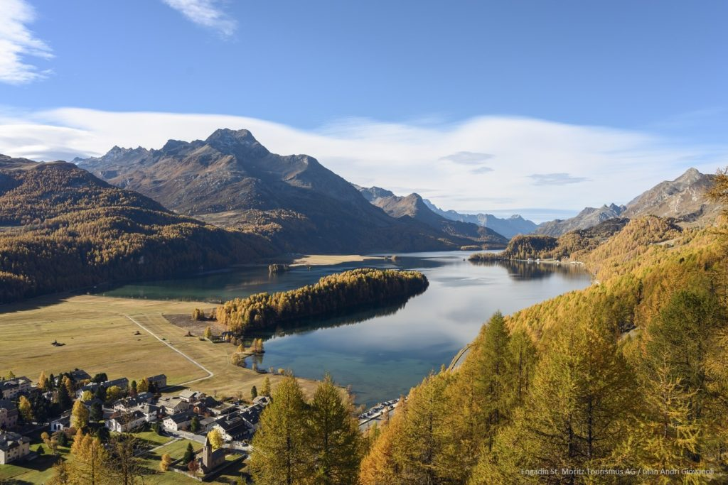 View towards Chastè - Sils in autumn