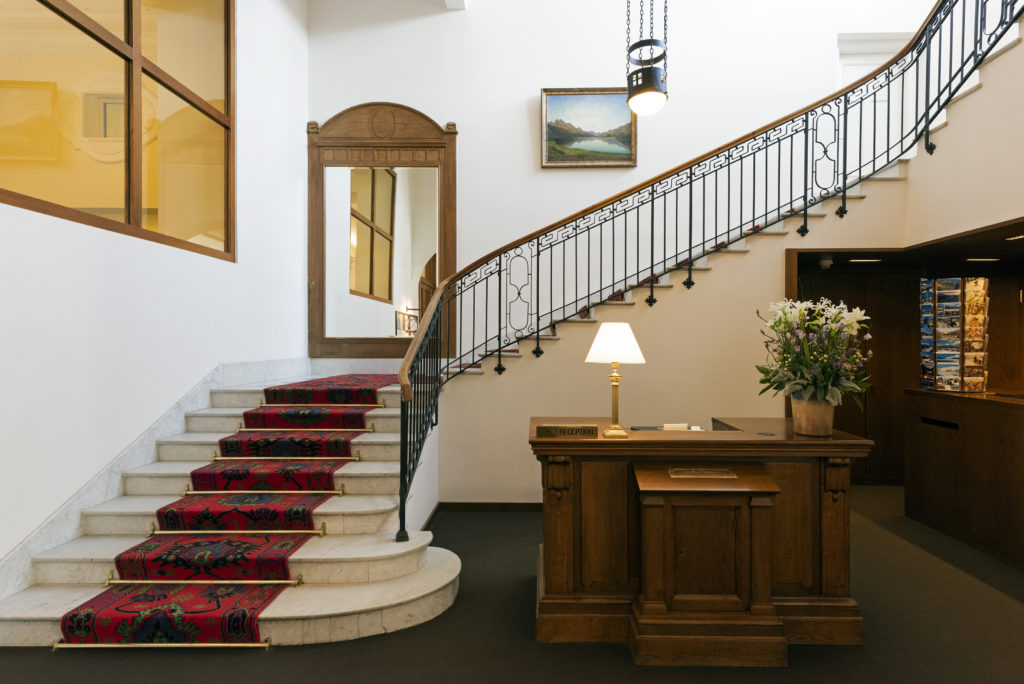 The lobby at the Hotel Waldhaus Sils