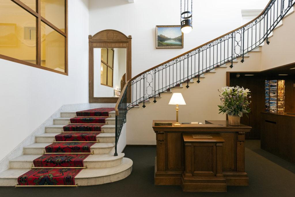 Hall d'entrée de l'hôtel Waldhaus Sils