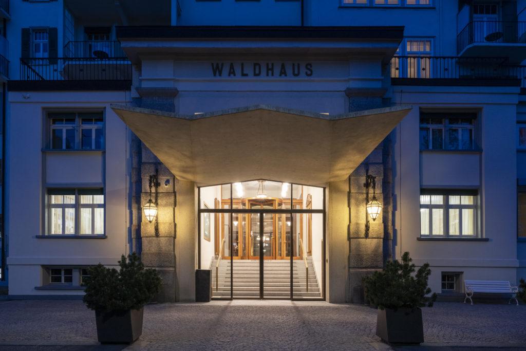 Main entrance at the Hotel Waldhaus Sils