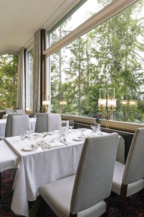The dining room at the Hotel Waldhaus Sils