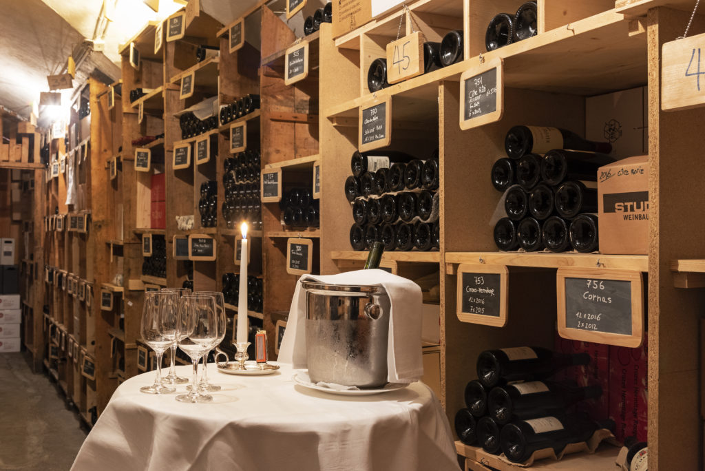 The Wine cellar in the Hotel Waldhaus Sils