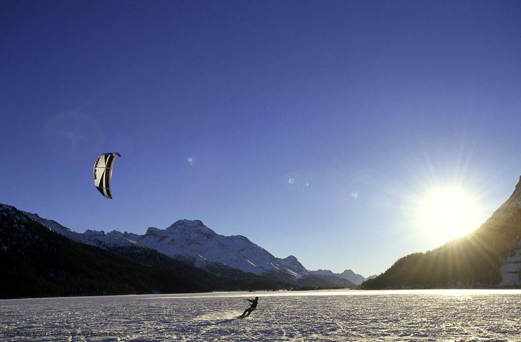 Snow-kiter on the Lake of Silvaplana