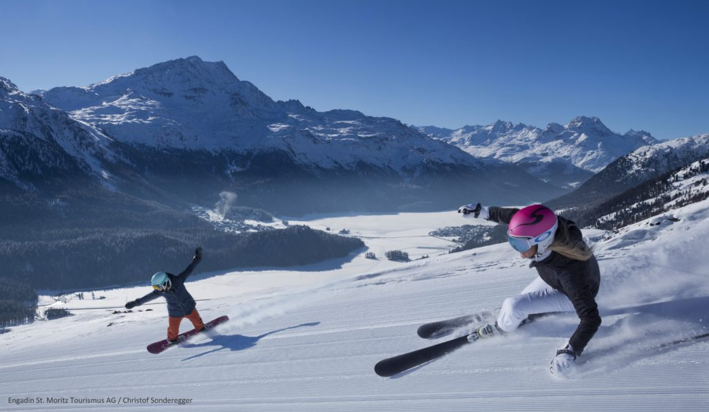 Engadin Mountains Skier Corviglia