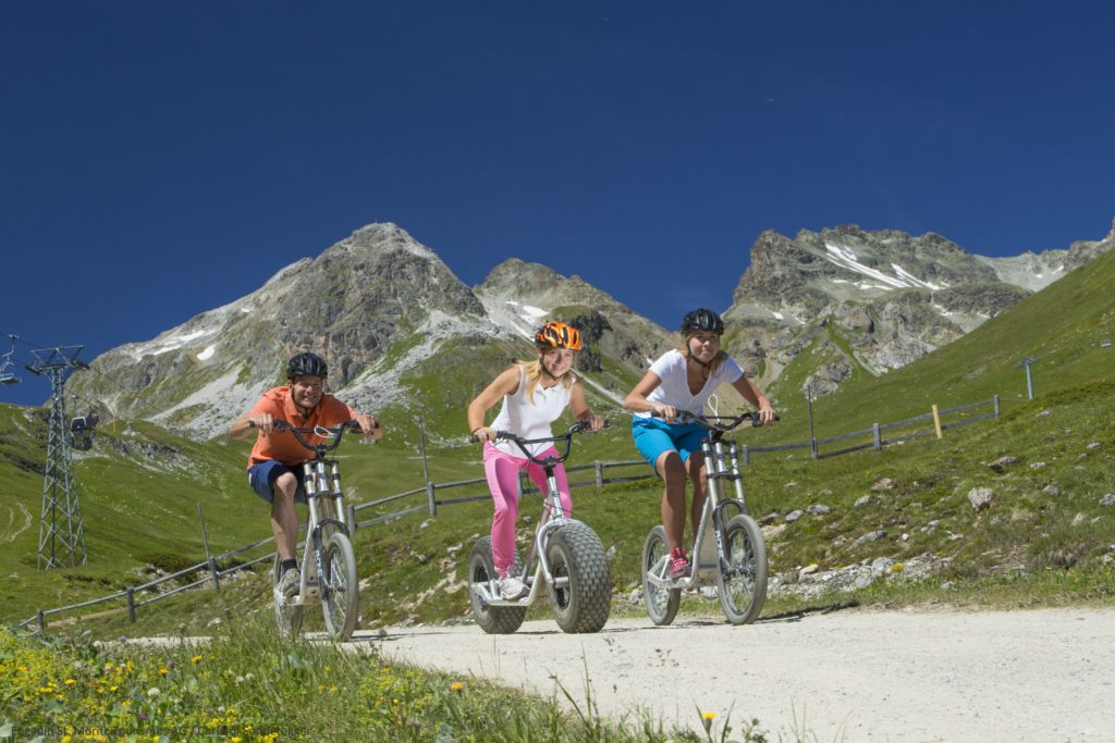 Engadin Mountains. Trottinette