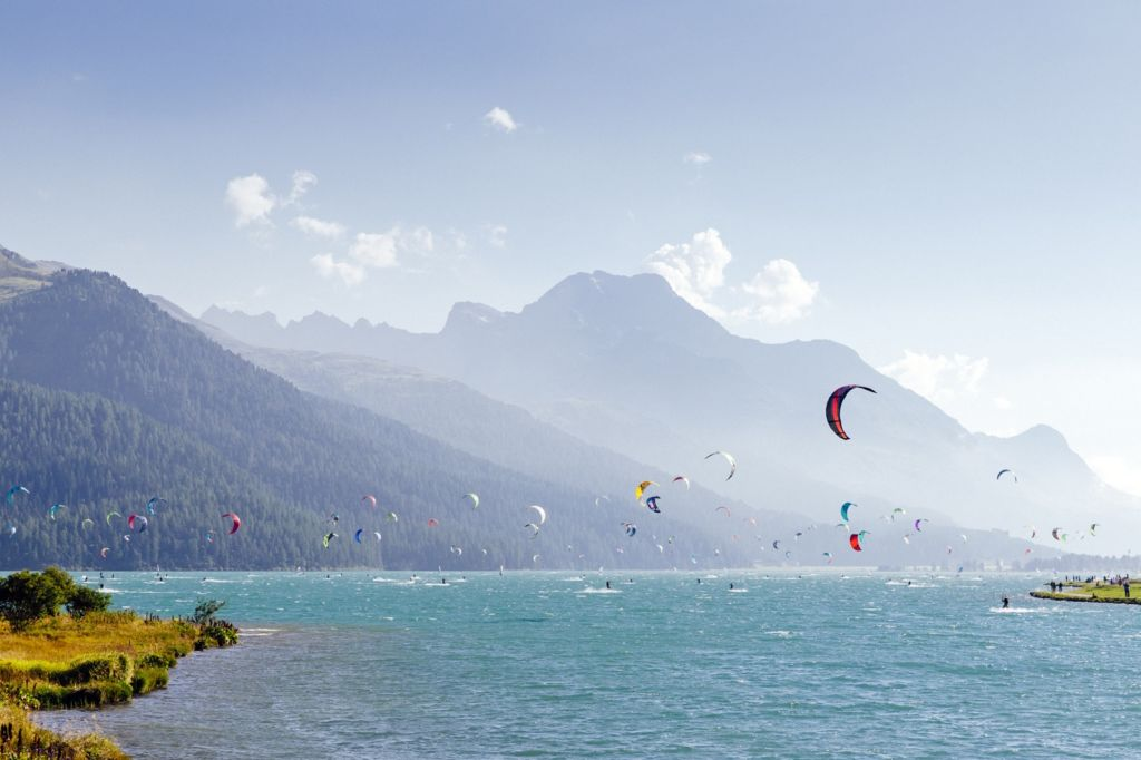 Kitesurfer on the lake of Silvaplana