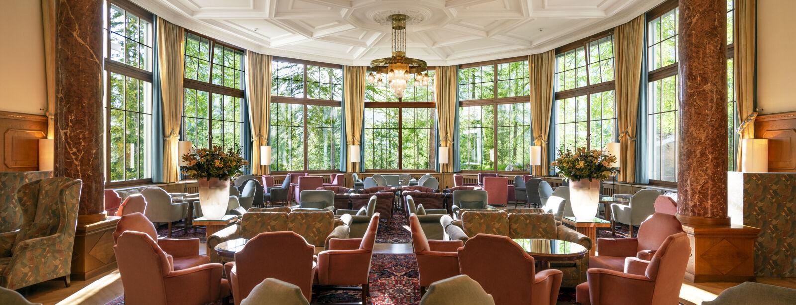 Le Grand Hall de l'hôtel Waldhaus Sils